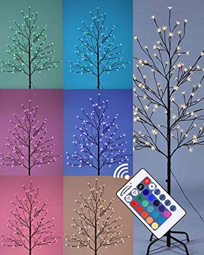 LIGHTSHARE Cherry Blossom Lighted Tree 5 Feet, RGB with Remote Control, 16 Color-Changing Modes