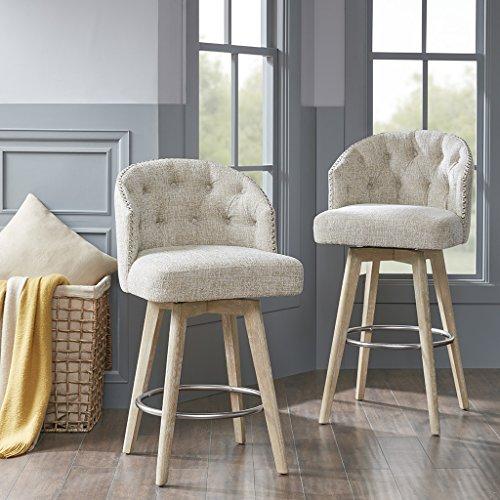Madison Park Onyx Counter Height Swivel Barstool Modern Solid Wood, Upholstered Foam Seat, Cream Pub Stool, 26.75 Inch,