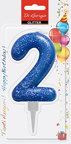 Cereria di Giorgio- Candela di Compleanno Gigante con Glitter Numero 2, Blu, 58160_62
