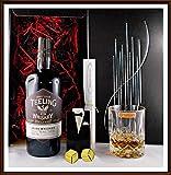 Geschenk Teeling irischer Single Malt Whiskey + Glas + 2 Edelstahl Kühlsteine goldfarbend im...