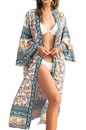 L-Peach Vestido de Playa Cover Up Playa Cárdigan Kimono Pareo para Mujer