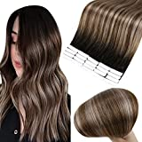 Full Shine Tape Hair Extensions Human Hair Black 1B Roots Ombre Dye Color 4 Highlighted 18 Double Sided Adhesive Glue on Brazilian Hair Seamless Tape on Hair 18inch