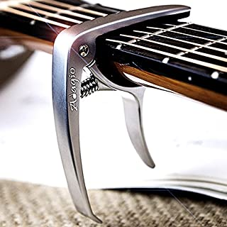 Adagio Pro Deluxe Capo Suitable For Acoustic & Electric Guitars With Quick Release And Peg Puller In Silver - Retail Packed