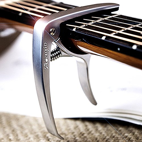 Price comparison product image Adagio PRO DELUXE CAPO Suitable For Acoustic & Electric Guitars With Quick Release And Peg Puller In Silver RRP £10.99 - Retail Packed