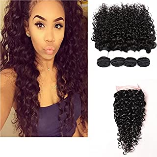 3/4 Bundles With Closure Aphro Human Hair Weave Bundles With Frontal Closure 13x4 Free Part Cambodian Straight Hair Bundles 4 Bundles With Lace Closure Superior Performance