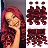 X-TRESS Brazilian Remy Hair 3 Burgundy Bundles with Middle Part Lace Frontal Body Wave Human Hair Extension 100% Virgin Human Hair Weave Burgundy Red Hair Extension Mixed Length (16 18 20+16 Inch)
