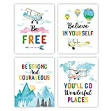 Inspirational Quote Art Print, Motivational believe in yourself Quote Art Poster, Watercolor Airplane Hot Air Balloon Print, Set of 4(8'x10') Canvas Print for Nursery Kids Living Room Decor, No Frame