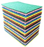 Bundaloo 24 Pack Scouring Pads Scrubbers Set in Red, Yellow, Pink, Green and Blue - Multip...