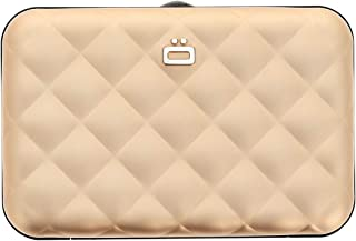 Ogon Quilted Button ID & Card Case Aluminium Wallet for Women | Rfid Safe