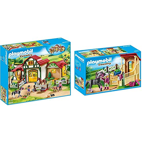 PLAYMOBIL Country Granja de Caballos con Tinker, Trakehner y su Potro, A Partir de 5 años (6926) , Color/Modelo Surtido + Caja de Caballos-Árabes Figuras de Juguete, Multicolor, Sin tañosllaños