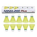 Best Badminton Shuttlecocks - NONGI Plus Plastic Badminton Shuttlecock Pack of 10(Yellow) Review