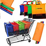 Zyeziwhs Lot de 4 sacs cabas non tissés réutilisables pour chariot de supermarché de taille standard, pliables, respectueux de l'environnement