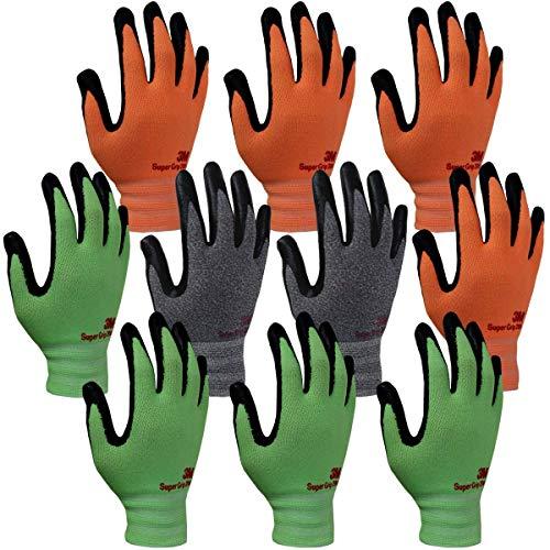 3M Super Grip 200 Gardening Gloves Work Gloves -10 Pairs, Assorted Colors (Medium)