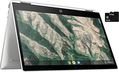 "2021 HP X360 2 in 1 Laptop 14"" Touch-Screen HD Chromebook, Intel Celeron N4000, 4GB Memory, 32GB eMMC Storage, USB Type C, WiFi, Webcam, Chrome OS, Ceramic White + 32GB TiTac Card"