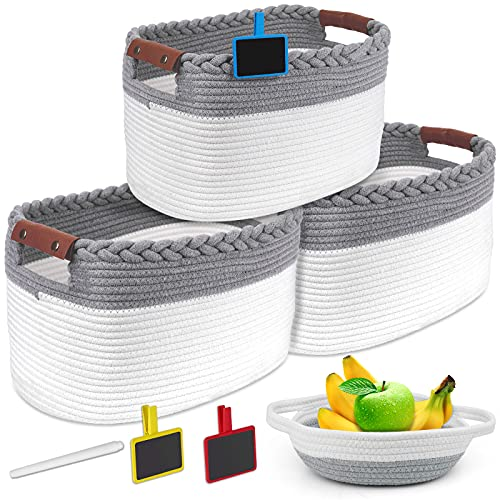 """HIRALIY Cotton Rope Storage Basket Set of 4, 3pc 15""""x 10""""x 9"""" inches and a Small Basket, Equipped with Leather Hand & Chalk Clip Label, Decorative Woven Basket for Baby clothes, Toys, Books, Towels"""