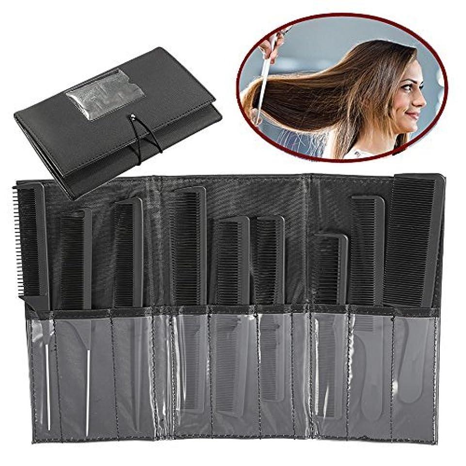 困難丈夫枝ZJchao Professional Styling Comb Set, 9Pcs Salon Hairdressing Kits, Metal Pintail Teaser/Sharp Tail/Wide Tooth/Cutting Grip Comb(Black) [並行輸入品]