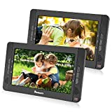 NAVISKAUTO 10.1' Dual Screen Portable DVD Player, Twins CD Players Play a Same or Different Movies with 5-Hour Built-in Rechargeable Battery, USB/SD/MMC Inputs (Black, 2 X DVD Player)