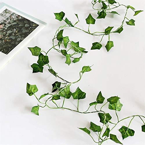 Preisvergleich Produktbild KDHJY Künstliche Pflanzen Led-Schnur-Licht-T-Shirt Grünes Blatt Efeu-Rebe for Haus Hochzeitsdeko Lampe DIY hängenden Garten-Yard-Beleuchtung (Color : Ivy Leaf,  Size : 2M 20Leds)