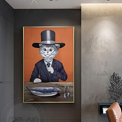 Geen frame het metropolitan museum of art meesterwerk pijn lak, kat met pak hoed olie ng, print appartement, corporate wallpaper50x70cm