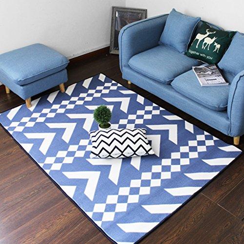 Mjb Anti-Rutsch-Teppich, nordischer Stil, für Schlafzimmer, Nachttisch, Wohnzimmer, Foyer Safa, großer Teppich, blau und weiß gestreift, Größe: 140 x 200 cm