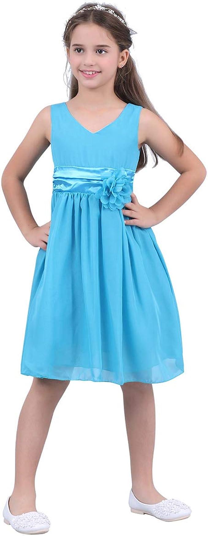 Freebily Festlich Kleid Kinderkleid Kinder Mädchen Hochzeit  Blumensmädchenkleid Prinzessin Kleid Chiffonkleid Partykleid 9 9 9 9  9 9 9