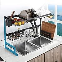 カトラリー収納ラック、幅/高さ調節可能、2層大型キッチン食器乾燥ラック、ステンレス製キッチン収納ラック、収納スペース節約棚機器ブラケット、黒(Size:85-105cm,Color:1)