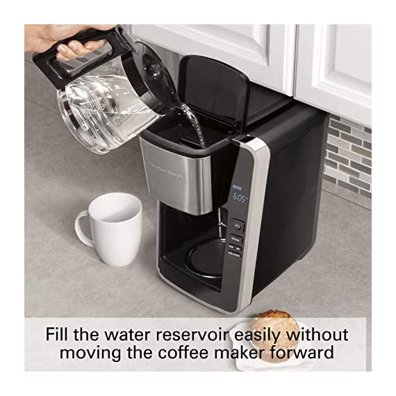 Hamilton beach programmable coffee maker, 12 cups, front access easy fill, pause & serve, 3 brewing options, black… 3 front access for easy filling fill the water tank from the front of the machine, not just the back front-access makes it easy to keep the coffee maker under the cabinet when in use swing out brew basket easier to fill and keep clean than a top load basket. Nonstick hot plate programmable clock set your brew time and strength in advance, and get peace of mind with a 2 hour automatic shutoff