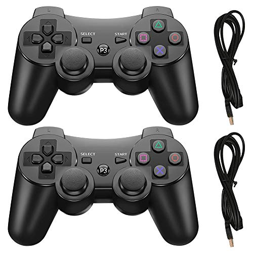 PS3 Wireless Controller, Playstation 3 Controller, Wireless Bluetooth Gamepad with USB Charger Cable for PS3 Console, 2 Pack