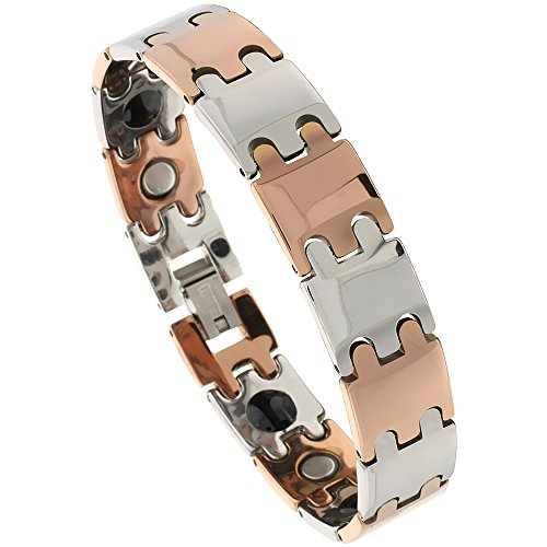Sabrina Silver Tungsten Carbide Bracelet Magnetic Therapy, 2-Tone Gun Metal & Rose Gold Bar Links, 1/2 inch Wide, 7.5 inches Long