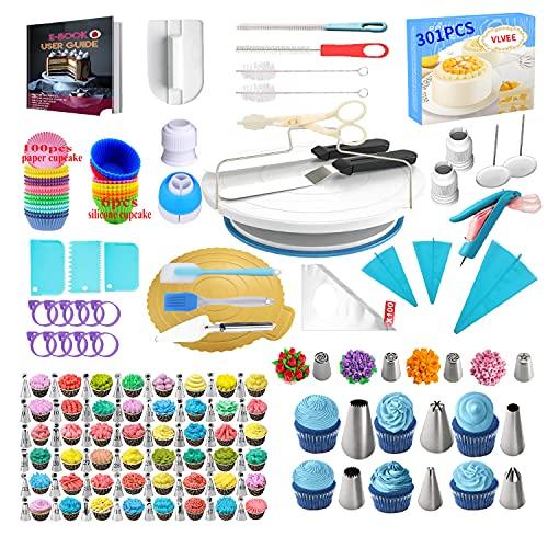 VLVEE Decoración De Pasteles Kit- 301 Piezas , Plato Giratorio Para Tartas y 48 Boquillas Manga Pastelera, Herramientas Para Pasteleria y Reposteria