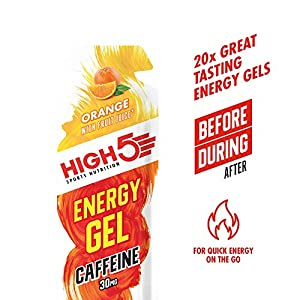 HIGH5 Energy Gel Caffeine Quick Release Energy On The Go from Natural Fruit Juice (20 x 40g Sachets) (Orange)