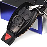 Cadtealir Coque en Cuir de Vachette véritable pour clé de Mercedes-Benz S550 GLK 350 CLK 320 C 300 ML350 GL 450 GLC 300 ML 320 GLA GLK AMG 3 Boutons