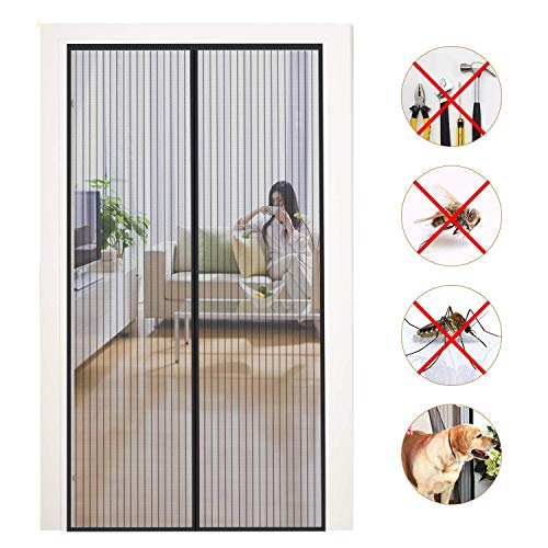 HXCD Magnetic Screen Door Snap Screen Door Anti Mosquito Bugs with Fiberglass for Keep Bugs Fly out - Black 170x260cm(67x102inch)