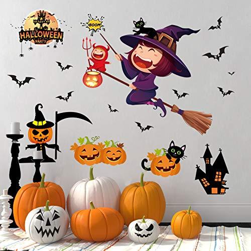 LIZHIGE Halloween Wandaufkleber Fenster Aufkleber Selbstklebende Abnehmbare Wandtattoos Fledermäuse Schädel Kürbis Aufkleber für Halloween Party Wand Fenster Dekorationen (3)