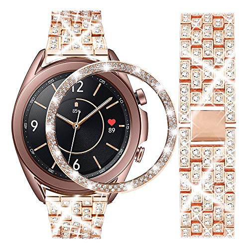 DEALELE Armband Kompatibel mit Samsung Galaxy Watch 3 41mm, 20mm Luxus Diamant Edelstahl Metall Uhrenarmband mit Strass Lünette Ring Schutzhülle Ersatz Uhrenarmband, Roségold