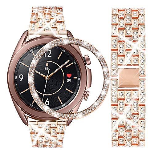 Correa compatible con Samsung Galaxy Watch 3 de 41 mm, 20 mm, con diamantes de imitación brillantes Dimaond de acero inoxidable con anillo de bisel brillante, oro rosa