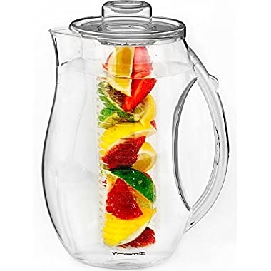 Vremi Fruit Infuser Water Pitcher - 2.5 liter Plastic Infusion Pitcher with Lid for Loose Leaf Tea - Large BPA Free Infuser Pitcher with Spout - 84 oz Sangria Pitcher Vodka Infuser Insert - Clear