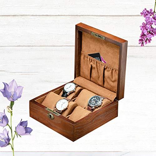 TOPBATHY - Caja de 6 ranuras para reloj de pulsera, con candado, diseño cuadrado, color marrón