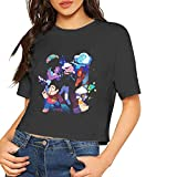Steven Universe T Shirt Women Crop Top Sexy Dew Navel T-Shirt Short Sleeve Cotton Shirt Black