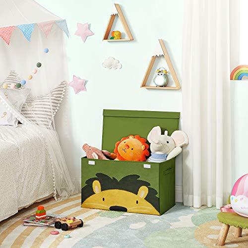 SONGMICS Aufbewahrungsbox, 60 x 35 x 38 cm, Spielzeug-Organizer, Faltbox, Stoffbox mit 2 Griffen und Deckel, Aufbewahrungskiste, für Kinderzimmer, Spielzimmer, Schlafzimmer, grün-gelb RFB741C01 - 2