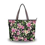 Mnsruu - Bolso de mano con cremallera para mujer, tamaño grande, diseño de rosa negra, color, talla Large