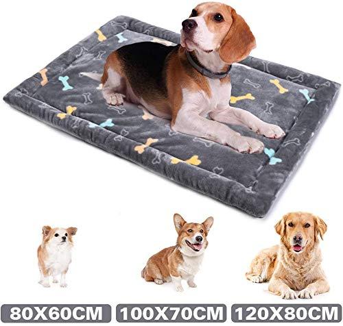 Allisandro Dog Bed Mat, Machine Washable, Dryer Friendly, and Non Slip Crate Mattress Cushion Pad Fluffy for Puppy Cat Kitten, Extra Softness Pet Sleeping Kennel Mat, Cute Grey Bone Design