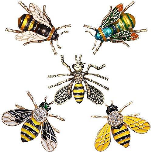 TOOGOO Pin Broche Insecto Animal Abeja Lindo Ramillete en Forma De Abeja Clips Bufanda Joya para Mujer Chica, 5 Piezas Abeja