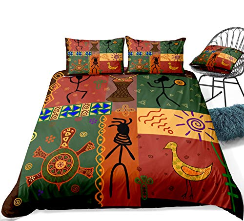 Duvet Cover Set Colorful Bohemian Exotic Ethnic Style Retro Funky Pattern Dance Moves Instruments Art Print Home Decor Bedding Set (Style 6#, Double 200x200cm)