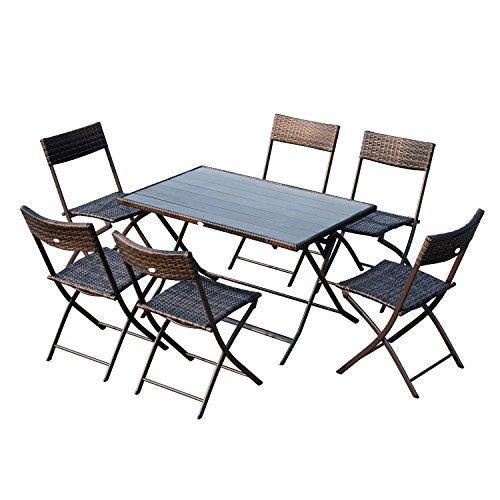Outsunny Ensemble Salon de Jardin 6 Personnes Grande Table rectangulaire Pliable + 6 chaises Pliantes métal résine tressée PS Chocolat