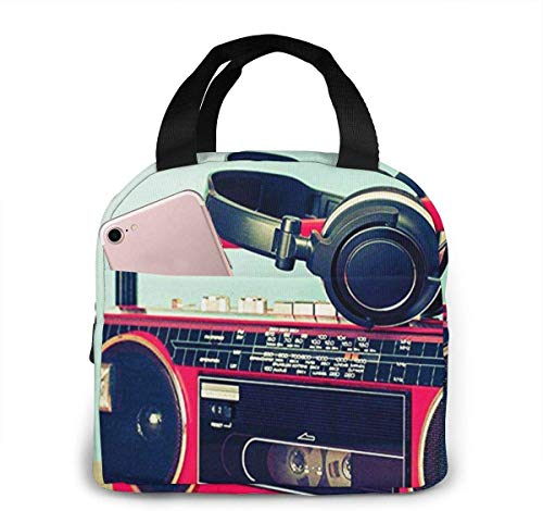 fdghjdfgh Lunchpaket Insulated Lunch Bag for Women Men Retro Ghetto Blaster Cassette Reusable Lunch Tote Lunch Box Organizer Cooler Bag with Front Pocket for Work Travel Picnic