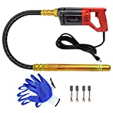 TOAUTO 110V Hand Held Concrete Vibrator 1080W Construction Vibrator Cement Electric Bubble Remover 4.9 Feet Shaft with 157 inch Power Cord