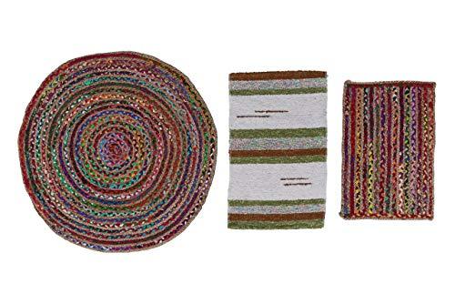 Alfombra de Yute Multicolor Redonda, Pack alfombras de Yute Circular + Rectangular + Jarapa de la Alpujarra, Tejidas a Mano - Salón, Cocina, Dormitorio, Pasillo, jardín (Mod 1, Ø 90 cm.)