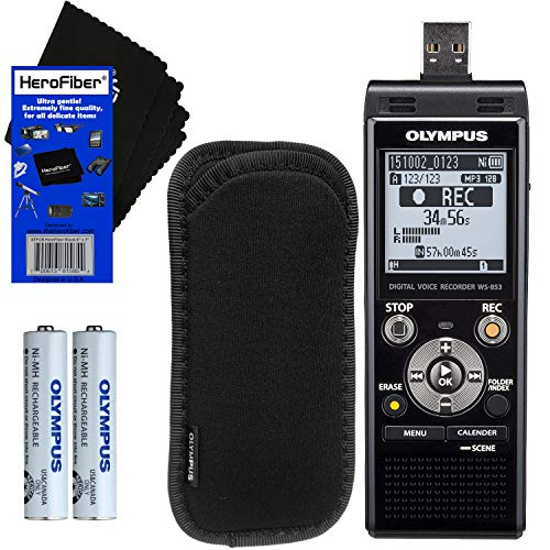 Olympus WS-853 Digital Voice Recorder (Black) with Built-in 8GB & Direct USB + Protective Case + AAA Rechargeable Batteries + HeroFiber Ultra Gentle...