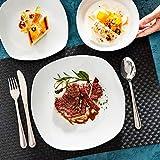 MALACASA, Serie Elisa, 48 TLG. Porzellan Tafelservice Kombiservice Geschirrset, 12 Dessertteller, 12 Suppenteller, 12 Flachteller und 12 MüsliSchäle für 12 Personen - 7